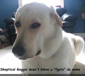 "Skeptical Goggie duzn't bleve u ""fgots"" da noms"