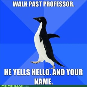 Socially Awkward Penguin sees Professor