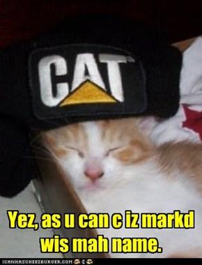 Cap iz marked wis kittehs name