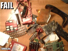 Lawnmower meets Cell Phone:    Fail