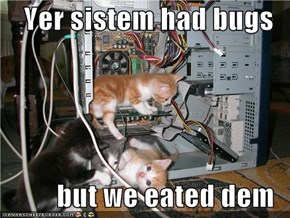 Yer sistem had bugs  but we eated dem