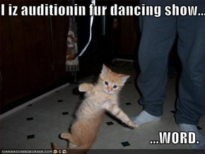 I iz auditionin fur dancing show...  ...WORD.