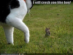 I will crush you like bug!