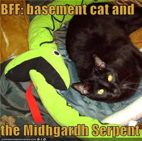 BFF: basement cat and  the Midhgardh Serpent