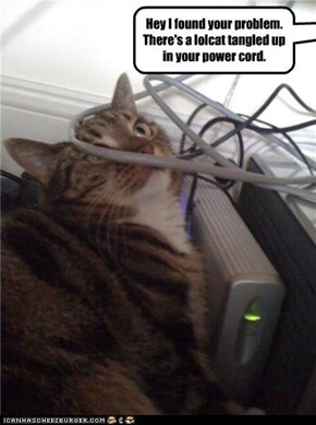 Hey I found your problem.  There's a lolcat tangled up in your power cord.