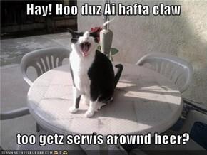 Hay! Hoo duz Ai hafta claw     too getz servis arownd heer?