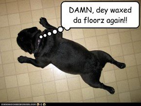 DAMN, dey waxed da floorz again!!