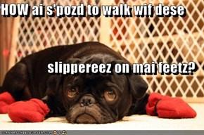 HOW ai s'pozd to walk wif dese slippereez on mai feetz?