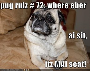 pug rulz # 72: where eber ai sit, itz MAI seat!