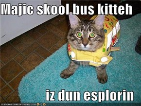 Majic skool bus kitteh  iz dun esplorin