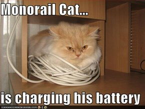 Monorail Cat...  is charging his battery