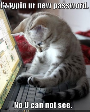 I'z typin ur new password.  No U can not see.
