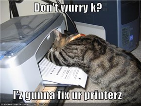 Don't wurry k?  I'z gunna fix ur printerz