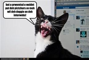 but u prwomisd u wuldnt put deh pictchurs ov meh wif deh doggie on deh interwebs!