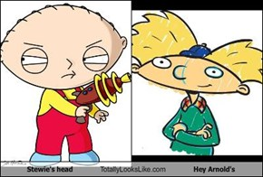 Stewie's head Totally Looks Like Hey Arnold's