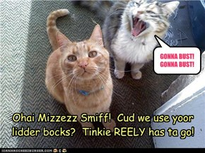 Ohai Mizzezz Smiff!  Cud we use yoor lidder bocks?  Tinkie REELY has ta go!