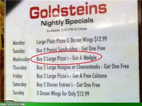I'd Like One Large Pizza and One Completely Unrelated Large Pizza, Please.