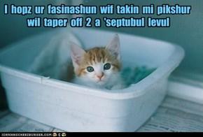 I  hopz  ur  fasinashun  wif  takin  mi  pikshur   wil  taper  off  2  a  'septubul  levul