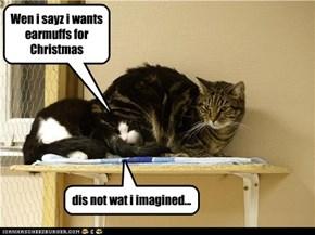 Wen i sayz i wants earmuffs for Christmas dis not wat i imagined...