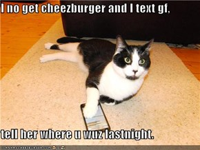 I no get cheezburger and I text gf,  tell her where u wuz lastnight.