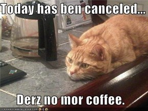 Today has ben canceled...  Derz no mor coffee.