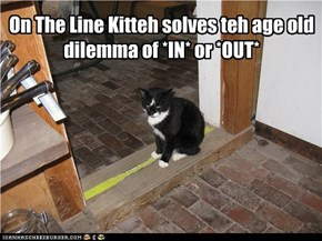 On The Line Kitteh solves teh age old  dilemma of *IN* or *OUT*