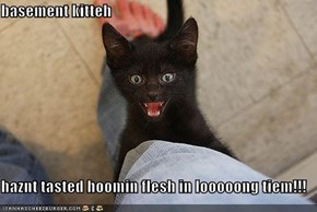 basement kitteh  haznt tasted hoomin flesh in looooong tiem!!!