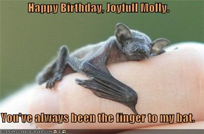 Happy Birthday, Joyfull Molly.  You've always been the finger to my bat.