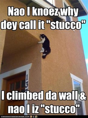 "Nao I knoez why dey call it ""stucco"""