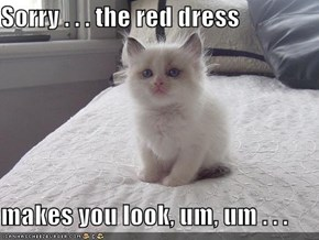 Sorry . . . the red dress  makes you look, um, um . . .
