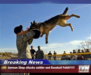 Breaking News - German Shep attacks soldier ond Baseball Feild!!!!!!