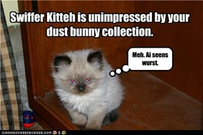 Swiffer Kitteh is unimpressed by your dust bunny collection.