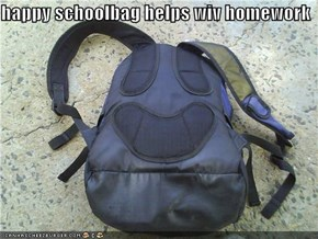 happy schoolbag helps wiv homework