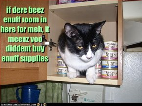 if dere beez enuff room in here for meh, it meenz yoo diddent buy enuff supplies