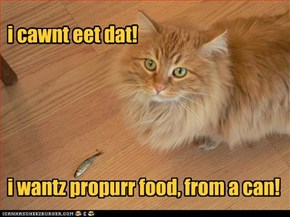 i cawnt eet dat!      i wantz propurr food, from a can!