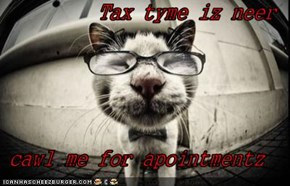 Tax tyme iz neer  cawl me for apointmentz