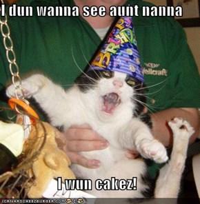 I dun wanna see aunt nanna  I wun cakez!