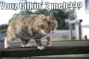 Youz talkin' 2 meh???