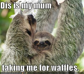 Dis is my mum  taking me for waffles.