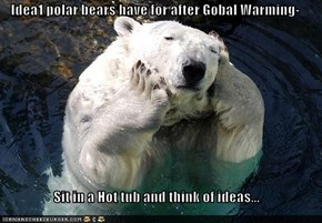 Idea1 polar bears have for after Gobal Warming-  Sit in a Hot tub and think of ideas...