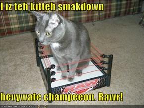 I iz teh kitteh smakdown  hevywate champeeon. Rawr!