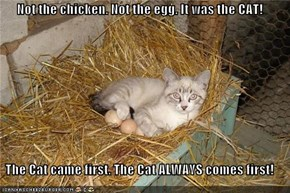 Not the chicken. Not the egg. It was the CAT!  The Cat came first. The Cat ALWAYS comes first!