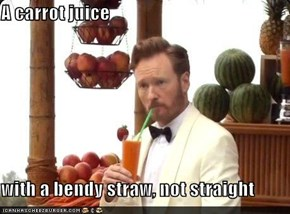 A carrot juice  with a bendy straw, not straight