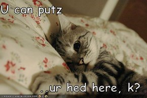 U can putz  ..ur hed here, k?