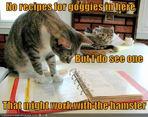 No recipes for goggies in here But I do see one     That might work with the hamster