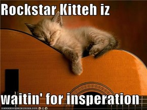 Rockstar Kitteh iz  waitin' for insperation