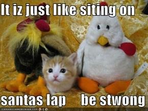 It iz just like siting on  santas lap     be stwong