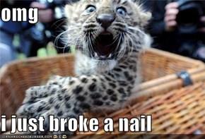 omg  i just broke a nail