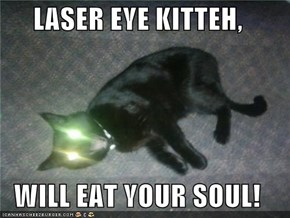 LASER EYE KITTEH,  WILL EAT YOUR SOUL!