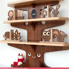 Woodland Bookshelf and Bookends
